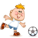 Sports schoolboy. Play in soccer. vector illustration Royalty Free Stock Image