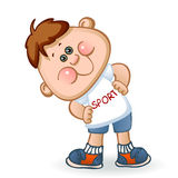 Sports schoolboy. In sportswear is engaged in gymnastics. vector illustration Stock Photography