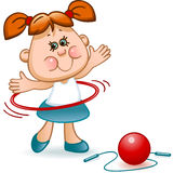Sports schoolgirl. Deals rhythmic gymnastics with a red ball, hoop and jump rope Royalty Free Stock Photo