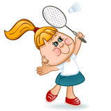 Sports schoolgirl. Play in badminton. vector illustration Royalty Free Stock Photo