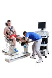 Sports Scientist doing Performance Assessment. Modern Technology Stock Images