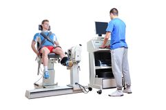 Sports Scientist doing Performance Assessment. Modern Technology Royalty Free Stock Images