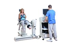 Sports Scientist doing Performance Assessment. Modern Technology Royalty Free Stock Photos