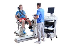Sports Scientist doing Performance Assessment. Modern Technology Royalty Free Stock Image