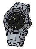The sports scrap watch. The vectorized hand drawing of a sports waterproof wrist watch vector illustration