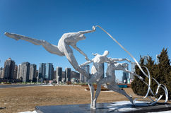 Sports Sculpture. Stainless steel sports sculpture of Xinghai Square, Dalian city, Liaoning province, China Stock Images