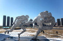 Sports Sculpture. Stainless steel sports sculpture of Xinghai Square, Dalian city, Liaoning province, China Stock Photo
