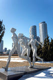 Sports Sculpture. Stainless steel sports sculpture of Xinghai Square, Dalian city, Liaoning province, China Stock Image