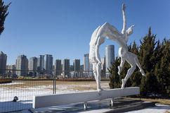 Sports Sculpture. Stainless steel sports sculpture of Xinghai Square, Dalian city, Liaoning province, China Royalty Free Stock Image