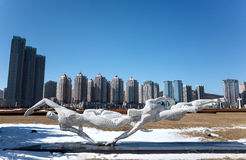 Sports Sculpture. Stainless steel sports sculpture of Xinghai Square, Dalian city, Liaoning province, China Royalty Free Stock Photo