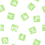 Sports seamless background. Green icons stock illustration
