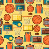 Sports seamless pattern with basketball icons in Royalty Free Stock Photo