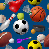 Sports Seamless Pattern. With a dark blue background as a repeat repetition wallpaper design with football basketball hockey golf soccer bowling tennis Royalty Free Stock Photo