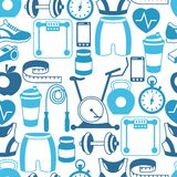 Sports seamless pattern with fitness icons in flat Royalty Free Stock Photography