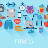 Sports seamless pattern with fitness icons in flat Stock Image