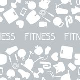 Sports seamless pattern with fitness icons in flat Royalty Free Stock Image