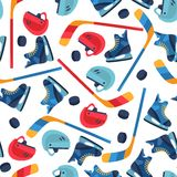 Sports seamless pattern with hockey equipment flat Royalty Free Stock Photography