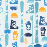 Sports seamless pattern with skiing equipment flat Stock Image