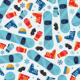 Sports seamless pattern with snowboard equipment Stock Photo
