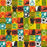 Sports seamless pattern with soccer (football Stock Image
