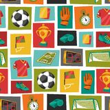 Sports seamless pattern with soccer football Stock Photo