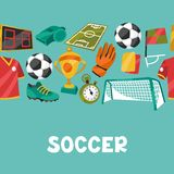 Sports seamless pattern with soccer football Royalty Free Stock Photography