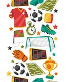 Sports seamless pattern with soccer football Royalty Free Stock Images