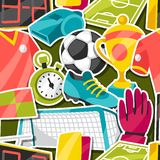 Sports seamless pattern with soccer sticker Stock Image