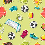 Sports seamless pattern with soccer sticker Royalty Free Stock Photography
