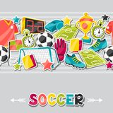Sports seamless pattern with soccer sticker Stock Photo