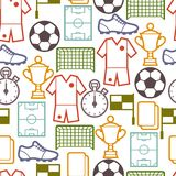 Sports seamless pattern with soccer symbols Stock Image