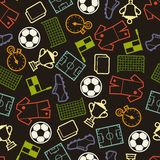Sports seamless pattern with soccer symbols Royalty Free Stock Image