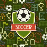 Sports seamless pattern with soccer symbols Stock Photography