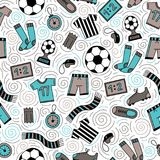 Sports Seamless Pattern. With Soccer Football Symbols in Line Art Style. Vector Illustration Royalty Free Stock Photos