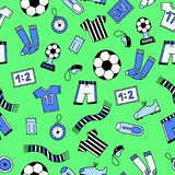 Sports Seamless Pattern. With Soccer Football Symbols in Line Art Style. Vector Illustration stock illustration
