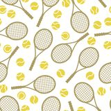 Sports seamless pattern with tennis icons in flat Royalty Free Stock Photos