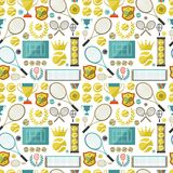 Sports seamless pattern with tennis icons in flat Stock Photos