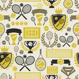 Sports seamless pattern with tennis icons in flat Royalty Free Stock Photography