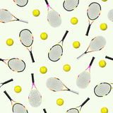 Sports seamless pattern with tennis icons of racket and ball stock illustration