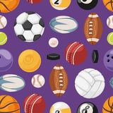 Sports seamless pattern vector illustration. Royalty Free Stock Photos
