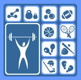 Sports set. Stylized sports equipment icons set isolated on a blue background Royalty Free Stock Photography