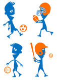 Sports Set. Soccer, Football, Basketball and Baseball royalty free illustration