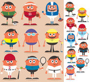 Sports. Set of cartoon characters representing different sports. No transparency and gradients used royalty free illustration
