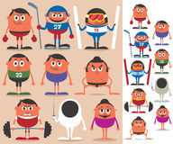 Sports 2. Set of cartoon characters representing different sports. No transparency and gradients used royalty free illustration