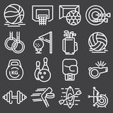 Sports set icons. Flat vector illustration. In white on gray background Royalty Free Stock Photos