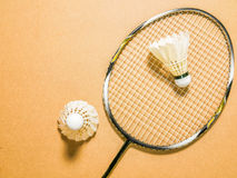 Sports set of two shuttlecocks with badminton racket on plywood background Royalty Free Stock Images