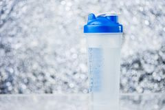 Sports Shaker Bottle On Blurred Background photos stock