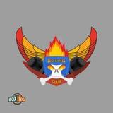 Sports shield emblem. Boxing logo skull. Logotype  boxing Club. Stock Photography