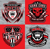 Sports shield emblem graphic set Royalty Free Stock Images