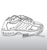 Sports shoe and brush. Hand drawn illustration of laced sports shoe with cleaning brush place beside it royalty free illustration